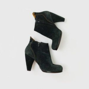 Coclicoo Black Leather Heeled Ankle Booties
